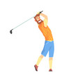 smiling bearded cartoon golf palyer character vector image