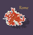 sticker city map of rome with well organized vector image vector image