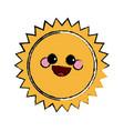 summer sun kawaii character emoticon hot icon vector image