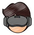 user with reality virtual mask technology vector image