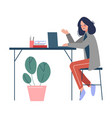 young woman sitting at table and working on vector image