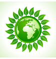 Eco earth inside the leaf background vector image