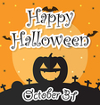 Happy Halloween Night Background with Moon Bat P vector image