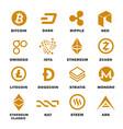 cryptocurrencies logo set vector image