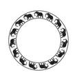 elephants circle ornament-03 vector image