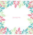 frame of multicolored leaves springtime isolated vector image
