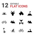 12 mountain icons vector image vector image