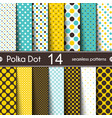 14 different round shape seamless patterns polka vector image
