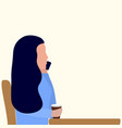 a woman is sitting at a table in a cafe and vector image