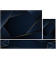 abstract polygonal dark blue background set vector image vector image