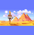 ancient egyptian god amun in desert with pyramids vector image