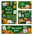 back to school student books on green chalkboard vector image vector image