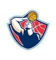Basketball Player Rebounding Ball Retro vector image vector image