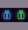 blue and green neon gift box vector image