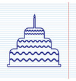 cake with candle sign navy line icon on vector image vector image