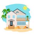 cartoon beach house vector image