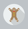 Christmas Flat Icon Gingerbread man vector image