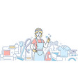 cleaning service - modern line design style vector image