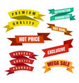 colorful ribbon labels and stickers vector image vector image