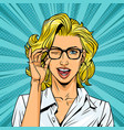 comic winking pretty blonde girl vector image