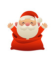 cute cartoon santa claus in bag merry christmas vector image