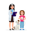cute vet and happy dog with girl smiling cartoon vector image vector image