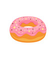 donut with pink glaze isolated on white vector image