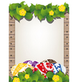 Easter eggs on the wooden fence background vector image