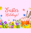 easter paschal cake egg willow flower card vector image vector image