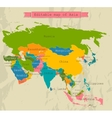 Editable Asia map with all countries vector image vector image