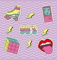 fashion 90s patches retro elements collection zig vector image