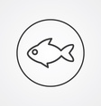 Fish outline symbol dark on white background logo vector image