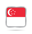 flag of singapore metallic gray square button vector image vector image