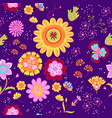 floral summer pattern in doodle graphyc vector image