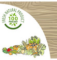 fresh natural products 100 percent meal poster vector image vector image