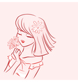 Girl and daisy vector image vector image
