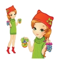 Girl Holding Christmas Decorations vector image vector image