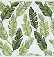 green banana leaves seamless white backgorund vector image