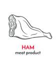 hand drawn ham icon vector image vector image