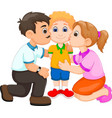 handsome boy cartoon kissed by father and mother vector image vector image