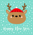 happy new year raindeer deer round head face icon vector image vector image