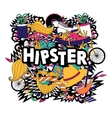 Hipster lifestyle symbols composition flat poster vector image vector image