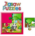 jigsaw puzzle pieces of animals in jungle vector image vector image