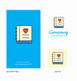 love diary company logo app icon and splash page vector image vector image