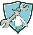 Mechanic Monkey Wrench Walking Crest Cartoon vector image vector image