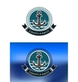 Nautical badges with ships anchors vector image vector image