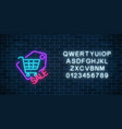 neon supermarket sale sign with shopping cart in vector image