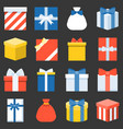 parcel presents and colorful gift box collection vector image
