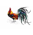 Pattern with farm rooster silhouette vector image vector image