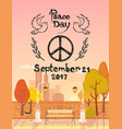 peace day 2017 september 21 vector image vector image